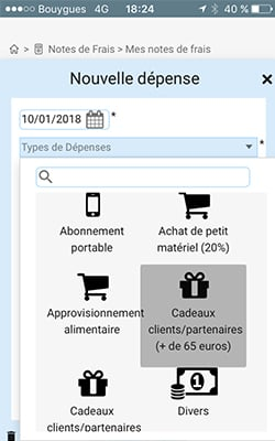 Capture d'écran : application mobile notes de frais