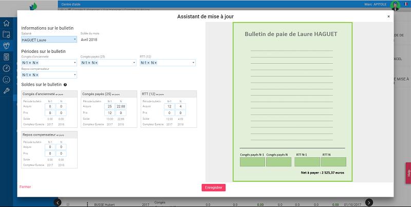 Capture d'écran ZEN by Eurécia : assistant de saisie des soldes de congés