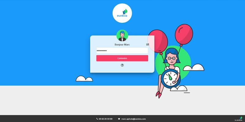 Capture d'écran : nouvelle page de connection au logiciel Eurécia
