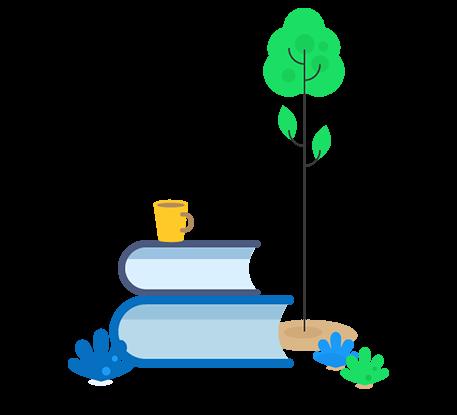 Arbre et plantes à côté de livres de formation