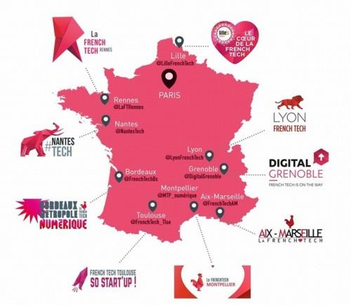 Carte des villes French Tech