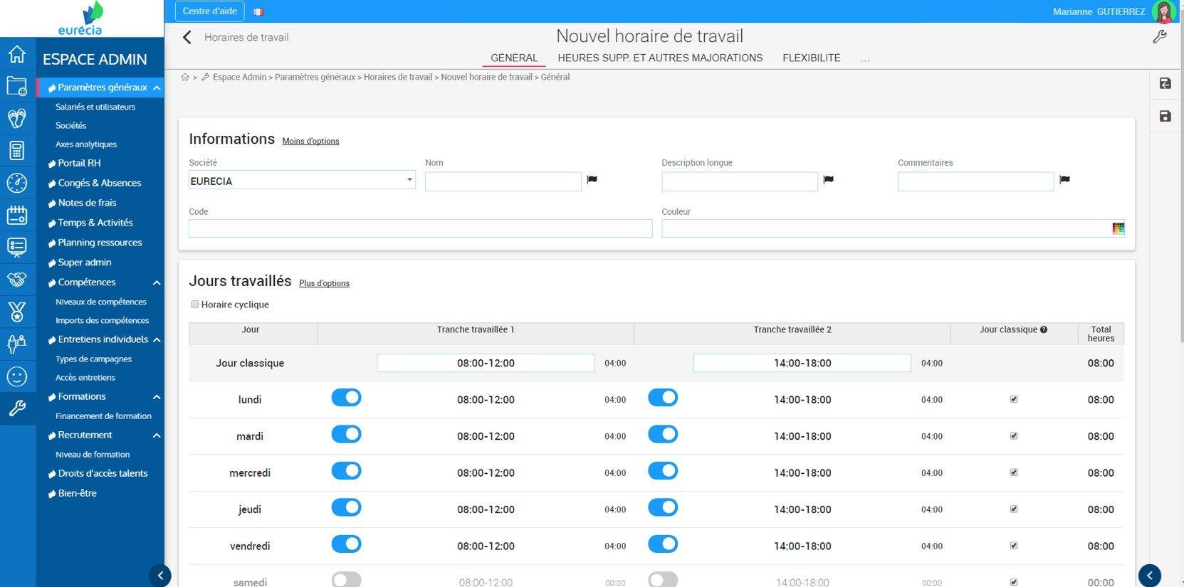 Capture d'écran - Interface de création des horaires de travail