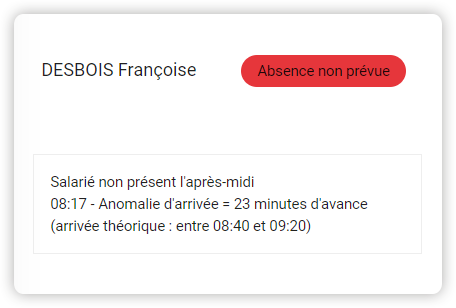 Capture d'écran de la fonctionnalité d'alerte d'absence non prévue