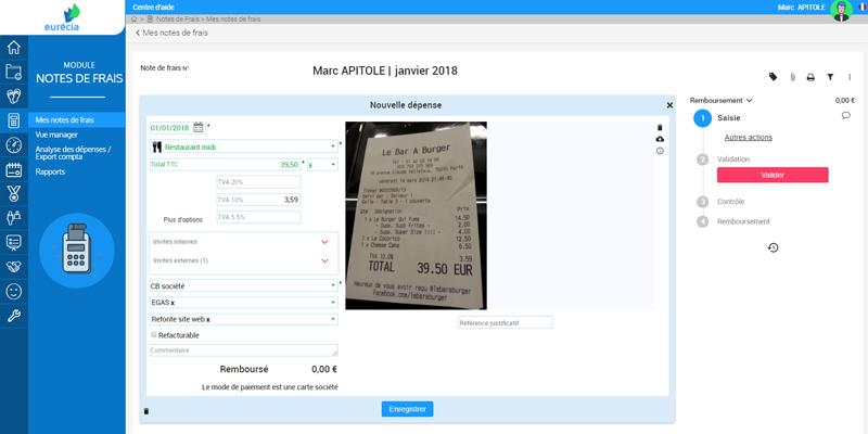 Capture d'écran : interface de saisie des dépenses professionnelles