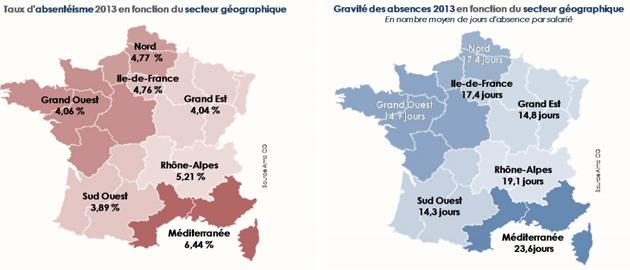 La répartition géographique de l'absentéisme