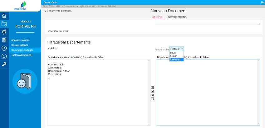 screenshot restreindre la visibilite des documents rh