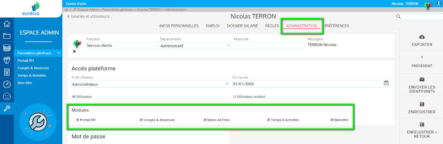Capture d'écran ZEN by Eurécia : masquer ou afficher un module pour les utilisateurs